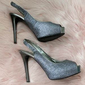 """Guess Shoes - Silver GUESS Sling-back 5"""" Heels - Size 8"""